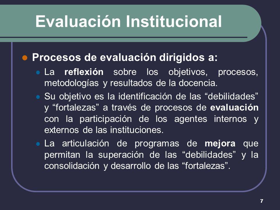 7 Evaluación Institucional Procesos de evaluación dirigidos a: La reflexión sobre los objetivos, procesos, metodologías y resultados de la docencia.