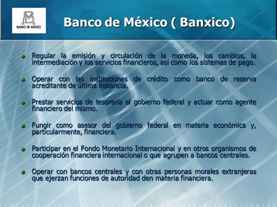 Banco de México ( Banxico) Regular la emisión y circulación de la moneda, los cambios, la intermediación y los servicios financieros, así como los sistemas de pago.