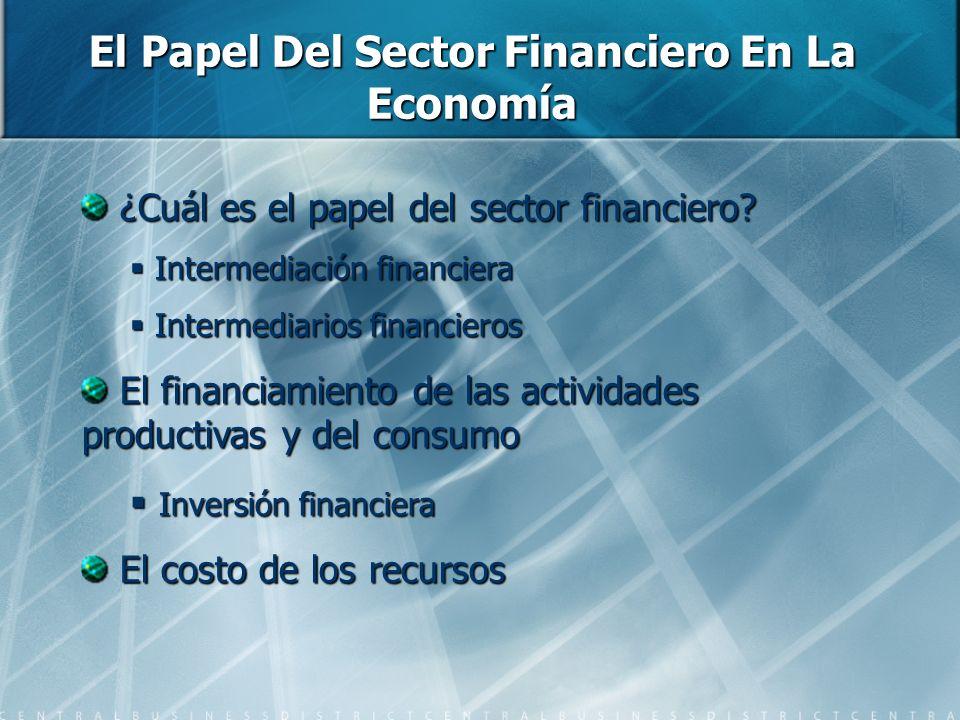 ¿Cuál es el papel del sector financiero? ¿Cuál es el papel del sector financiero? Intermediación financiera Intermediación financiera Intermediarios f