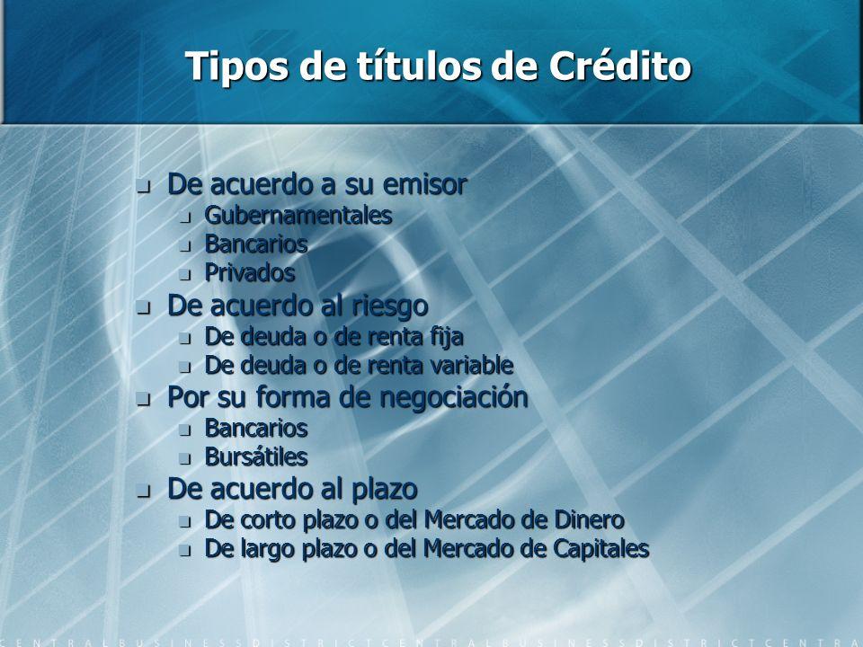 Tipos de títulos de Crédito De acuerdo a su emisor De acuerdo a su emisor Gubernamentales Gubernamentales Bancarios Bancarios Privados Privados De acu