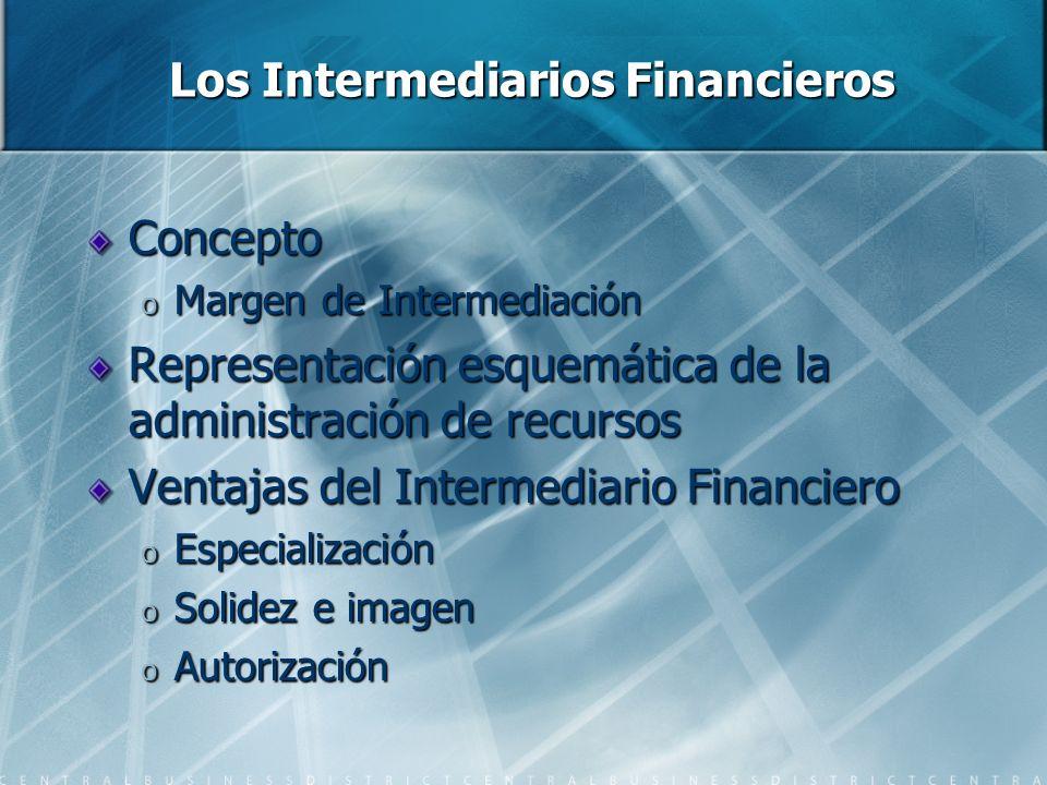 Los Intermediarios Financieros Concepto o Margen de Intermediación Representación esquemática de la administración de recursos Ventajas del Intermediario Financiero o Especialización o Solidez e imagen o Autorización