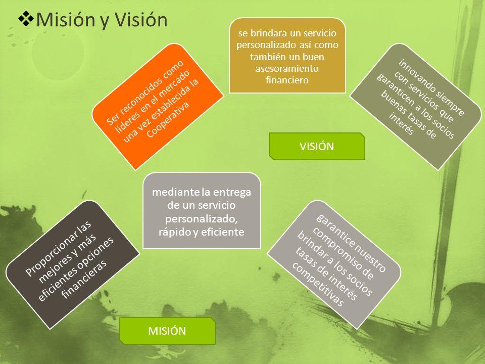 Misión y Visión Ser reconocidos como líderes en el mercado una vez establecida la Cooperativa se brindara un servicio personalizado así como también u