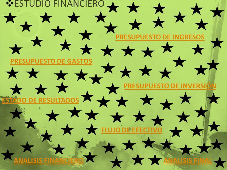 ESTUDIO FINANCIERO PRESUPUESTO DE GASTOS PRESUPUESTO DE INGRESOS PRESUPUESTO DE INVERSIÓN ESTADO DE RESULTADOS FLUJO DE EFECTIVO ANALISIS FINANCIEROAN