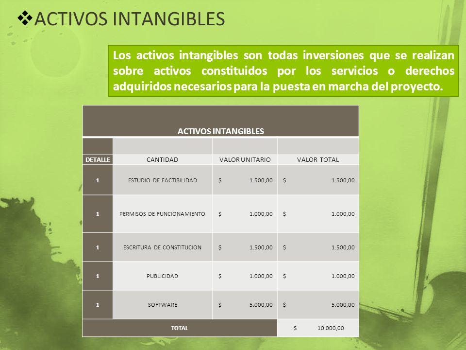 ACTIVOS INTANGIBLES Los activos intangibles son todas inversiones que se realizan sobre activos constituidos por los servicios o derechos adquiridos n