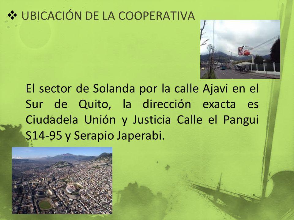 UBICACIÓN DE LA COOPERATIVA El sector de Solanda por la calle Ajavi en el Sur de Quito, la dirección exacta es Ciudadela Unión y Justicia Calle el Pan