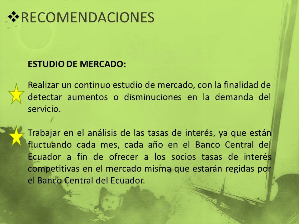 RECOMENDACIONES ESTUDIO DE MERCADO: Realizar un continuo estudio de mercado, con la finalidad de detectar aumentos o disminuciones en la demanda del s