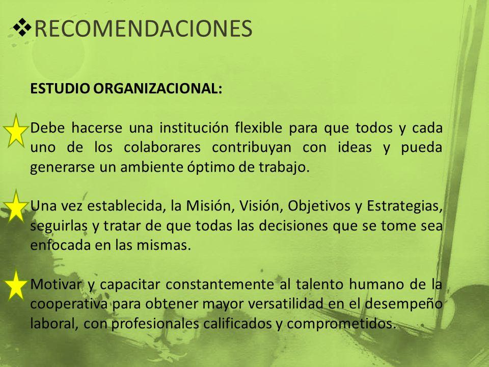 RECOMENDACIONES ESTUDIO ORGANIZACIONAL: Debe hacerse una institución flexible para que todos y cada uno de los colaborares contribuyan con ideas y pue