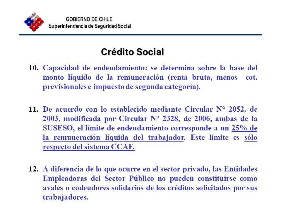 GOBIERNO DE CHILE Superintendencia de Seguridad Social Crédito Social 10.Capacidad de endeudamiento: se determina sobre la base del monto líquido de l