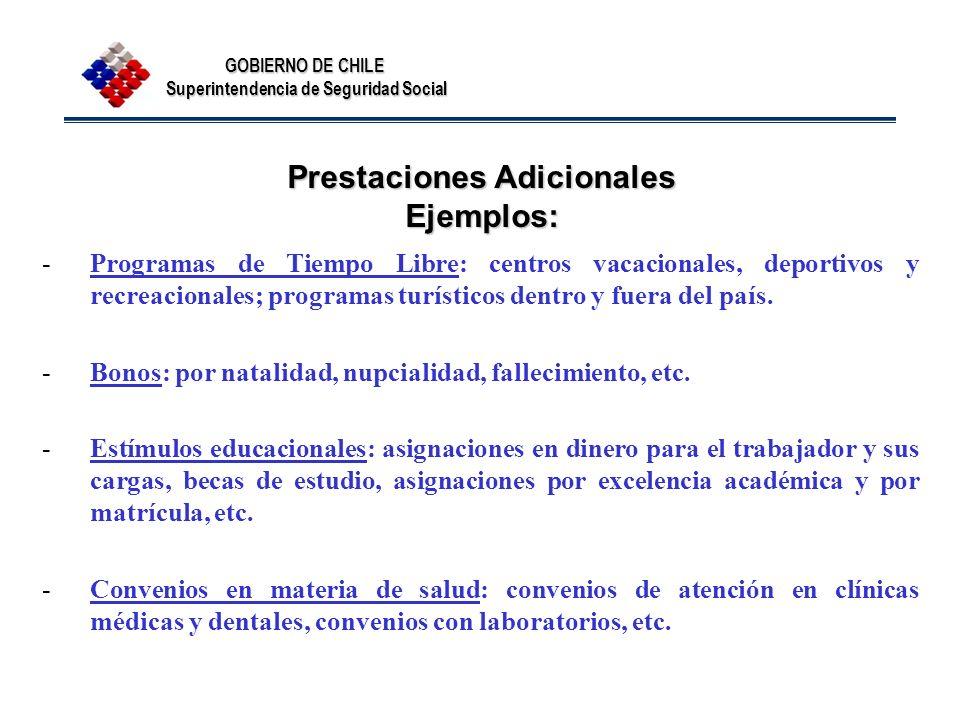 GOBIERNO DE CHILE Superintendencia de Seguridad Social Prestaciones Adicionales Ejemplos: -Programas de Tiempo Libre: centros vacacionales, deportivos