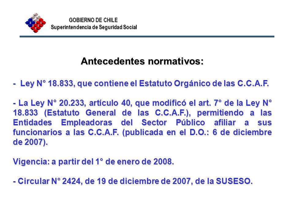 Antecedentes normativos: - Ley N° 18.833, que contiene el Estatuto Orgánico de las C.C.A.F. - La Ley N° 20.233, artículo 40, que modificó el art. 7° d