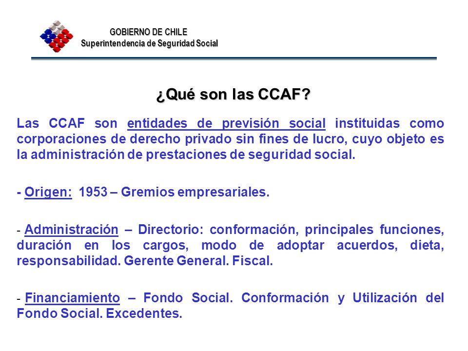 GOBIERNO DE CHILE Superintendencia de Seguridad Social ¿Qué son las CCAF? Las CCAF son entidades de previsión social instituidas como corporaciones de