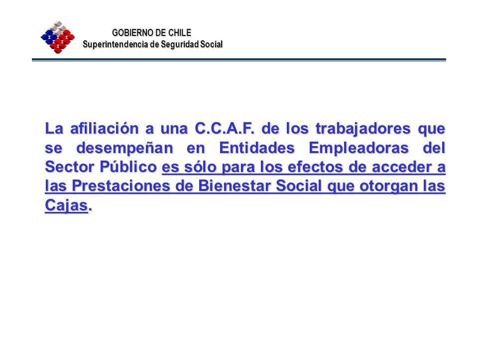 GOBIERNO DE CHILE Superintendencia de Seguridad Social La afiliación a una C.C.A.F. de los trabajadores que se desempeñan en Entidades Empleadoras del
