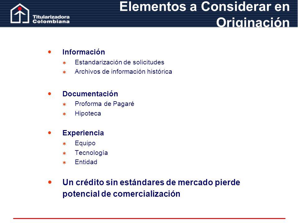 Información Estandarización de solicitudes Archivos de información histórica Documentación Proforma de Pagaré Hipoteca Experiencia Equipo Tecnología E