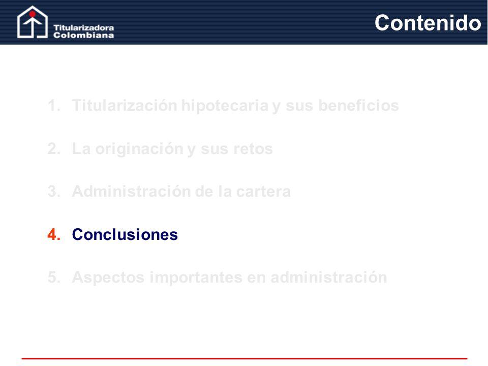 1.Titularización hipotecaria y sus beneficios 2.La originación y sus retos 3.Administración de la cartera 4.Conclusiones 5.Aspectos importantes en adm