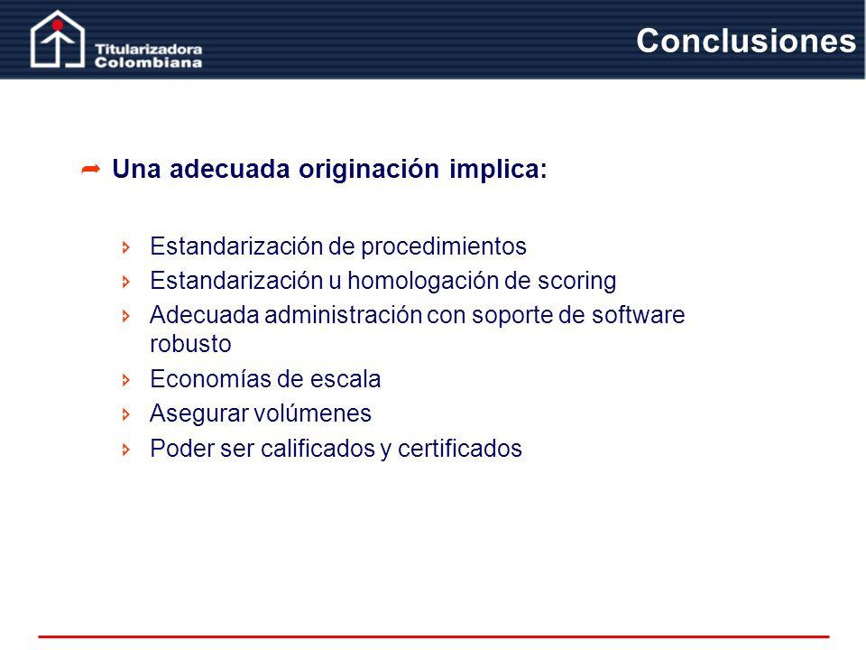 Una adecuada originación implica: Estandarización de procedimientos Estandarización u homologación de scoring Adecuada administración con soporte de s