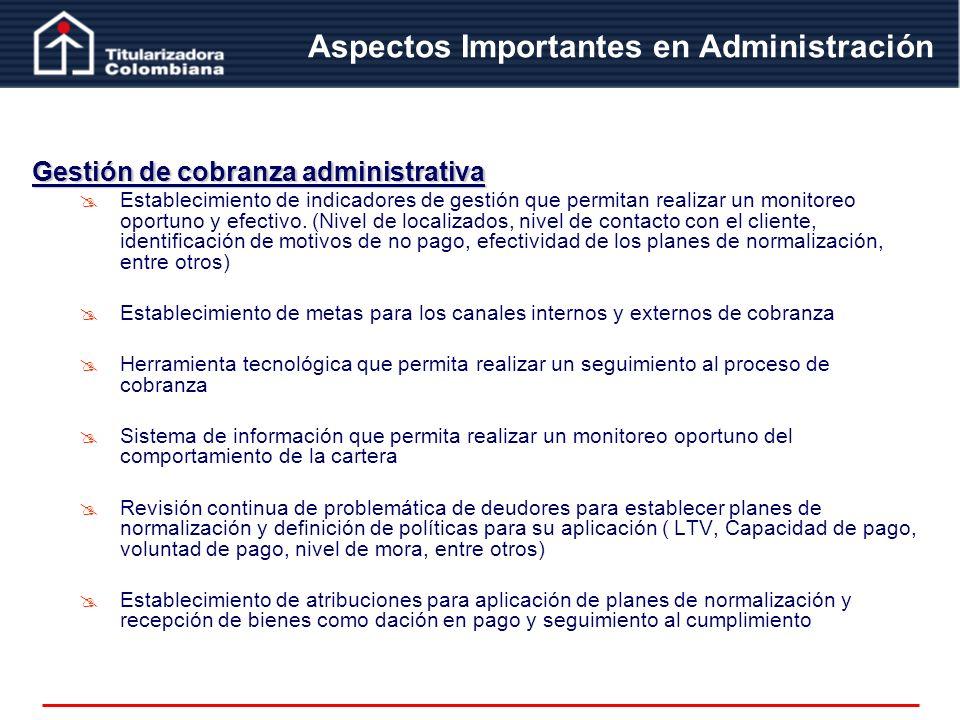 Gestión de cobranza administrativa Establecimiento de indicadores de gestión que permitan realizar un monitoreo oportuno y efectivo. (Nivel de localiz