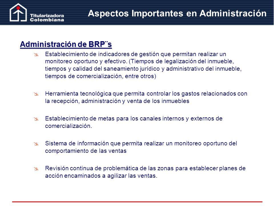 Administración de BRP¨s Establecimiento de indicadores de gestión que permitan realizar un monitoreo oportuno y efectivo. (Tiempos de legalización del