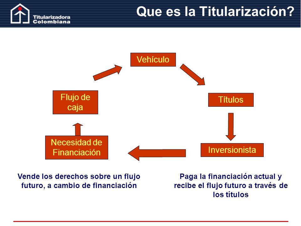 Que es la Titularización? Vehículo Flujo de caja Títulos Inversionista Necesidad de Financiación Recibe el flujo y Paga los títulos Paga la financiaci