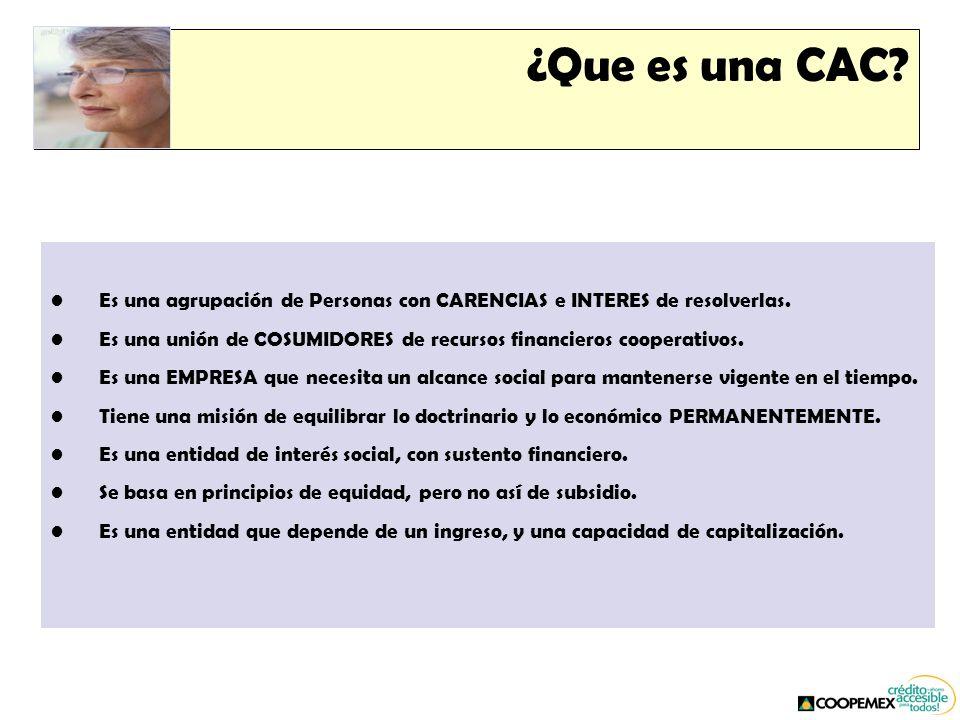 ¿Que es una CAC. Es una agrupación de Personas con CARENCIAS e INTERES de resolverlas.