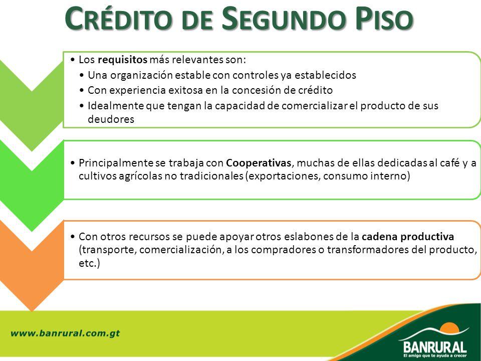 C RÉDITO DE S EGUNDO P ISO Los requisitos más relevantes son: Una organización estable con controles ya establecidos Con experiencia exitosa en la con