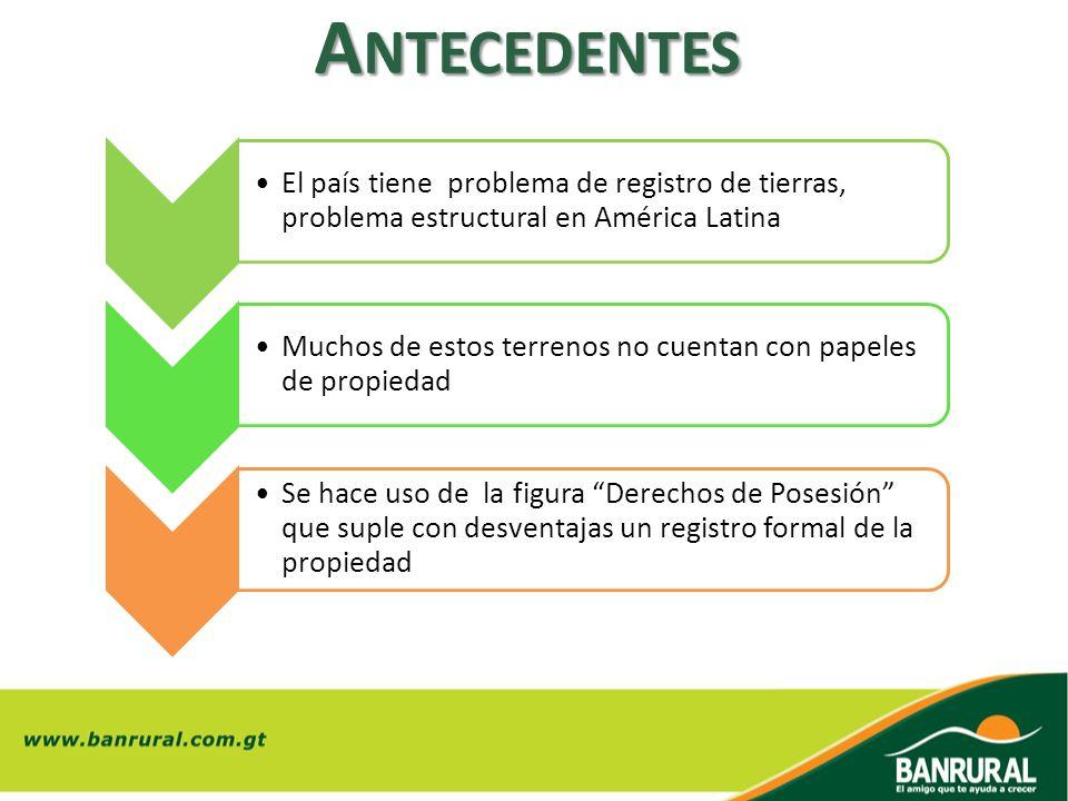A NTECEDENTES El país tiene problema de registro de tierras, problema estructural en América Latina Muchos de estos terrenos no cuentan con papeles de