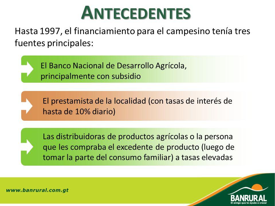Hasta 1997, el financiamiento para el campesino tenía tres fuentes principales: A NTECEDENTES El Banco Nacional de Desarrollo Agrícola, principalmente