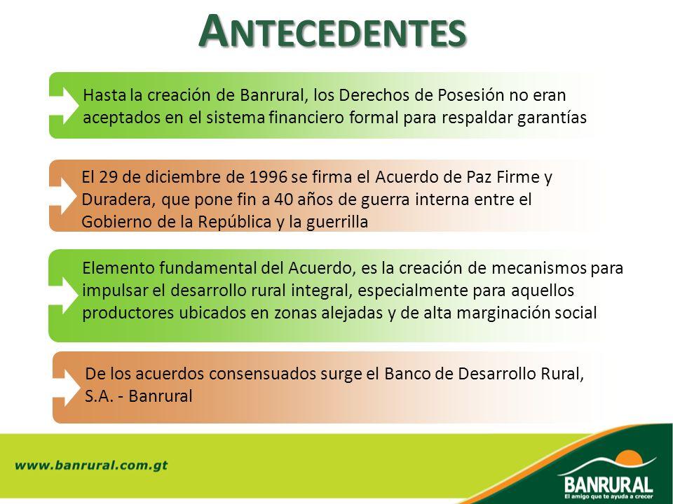 A NTECEDENTES Hasta la creación de Banrural, los Derechos de Posesión no eran aceptados en el sistema financiero formal para respaldar garantías El 29