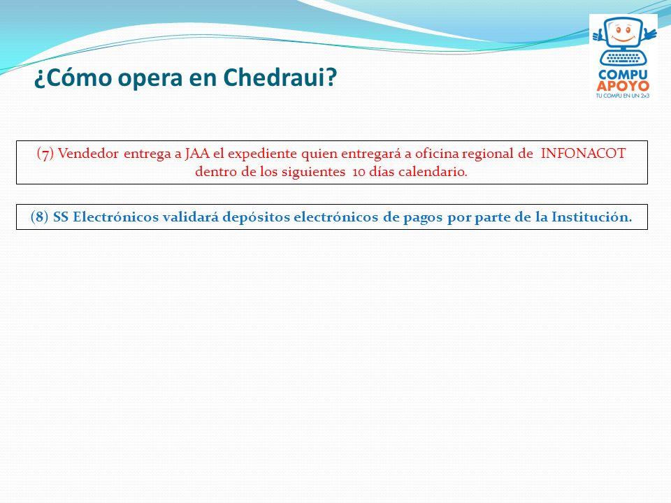 ¿Cómo opera en Chedraui? (7) Vendedor entrega a JAA el expediente quien entregará a oficina regional de INFONACOT dentro de los siguientes 10 días cal