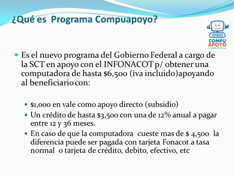 ¿Qué es Programa Compuapoyo? Es el nuevo programa del Gobierno Federal a cargo de la SCT en apoyo con el INFONACOT p/ obtener una computadora de hasta