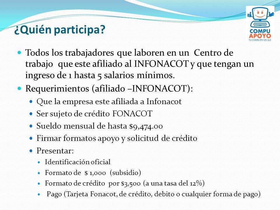 ¿Quién participa? Todos los trabajadores que laboren en un Centro de trabajo que este afiliado al INFONACOT y que tengan un ingreso de 1 hasta 5 salar