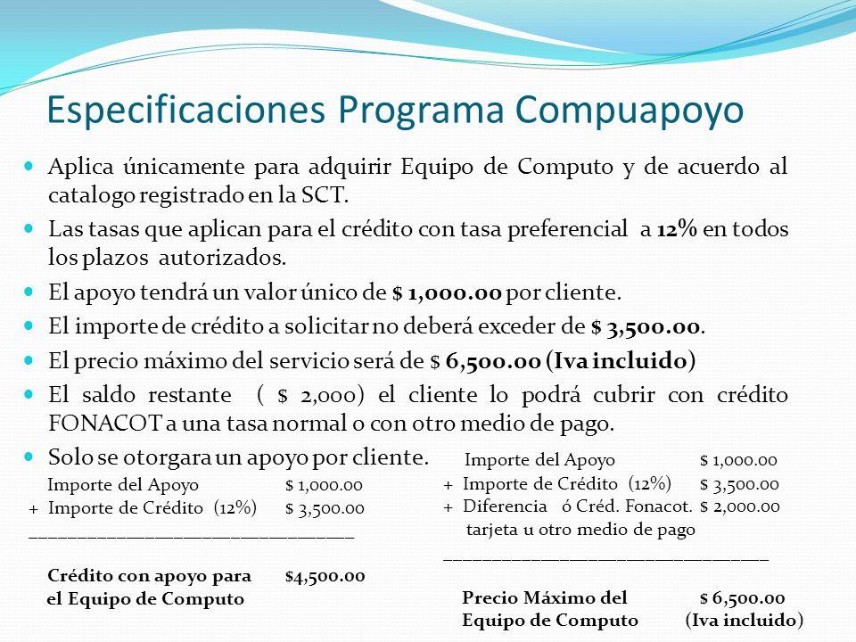 Especificaciones Programa Compuapoyo Aplica únicamente para adquirir Equipo de Computo y de acuerdo al catalogo registrado en la SCT. Las tasas que ap