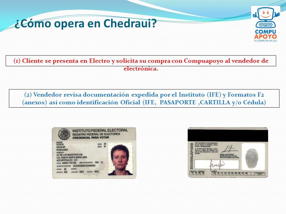 ¿Cómo opera en Chedraui? (1) Cliente se presenta en Electro y solicita su compra con Compuapoyo al vendedor de electrónica. (2) Vendedor revisa docume