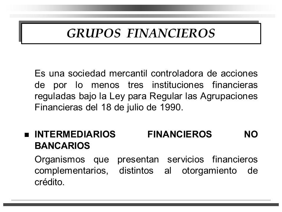 GRUPOS FINANCIEROS Es una sociedad mercantil controladora de acciones de por lo menos tres instituciones financieras reguladas bajo la Ley para Regular las Agrupaciones Financieras del 18 de julio de 1990.