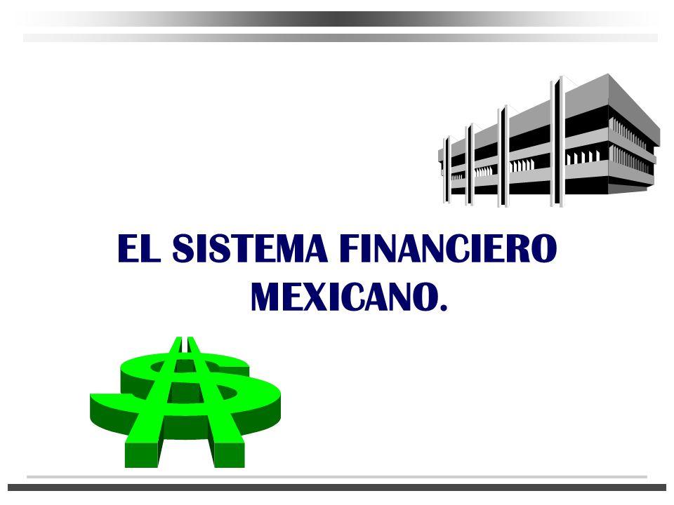 LA INTERACCIÓN ENTRE LOS AGENTES ECONÓMICOS REQUIERE DE UN MARCO DE NORMATIVIDAD, EL CUAL CONOCEMOS COMO SISTEMA FINANCIERO MEXICANO n Es el conjunto de leyes, reglamentos, organismos e instituciones cuyo objetivo es canalizar en forma eficiente los recursos monetarios de la economía, en forma de ahorro, inversión y financiamiento, dentro de un marco legal de referencia.