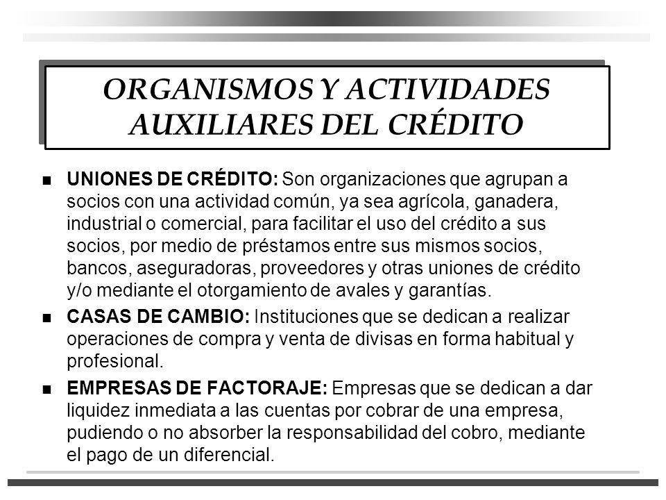 UNIONES DE CRÉDITO: Son organizaciones que agrupan a socios con una actividad común, ya sea agrícola, ganadera, industrial o comercial, para facilitar