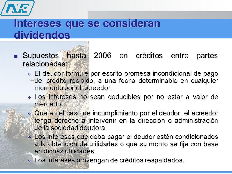Intereses que se consideran dividendos Supuestos hasta 2006 en créditos entre partes relacionadas: Supuestos hasta 2006 en créditos entre partes relac