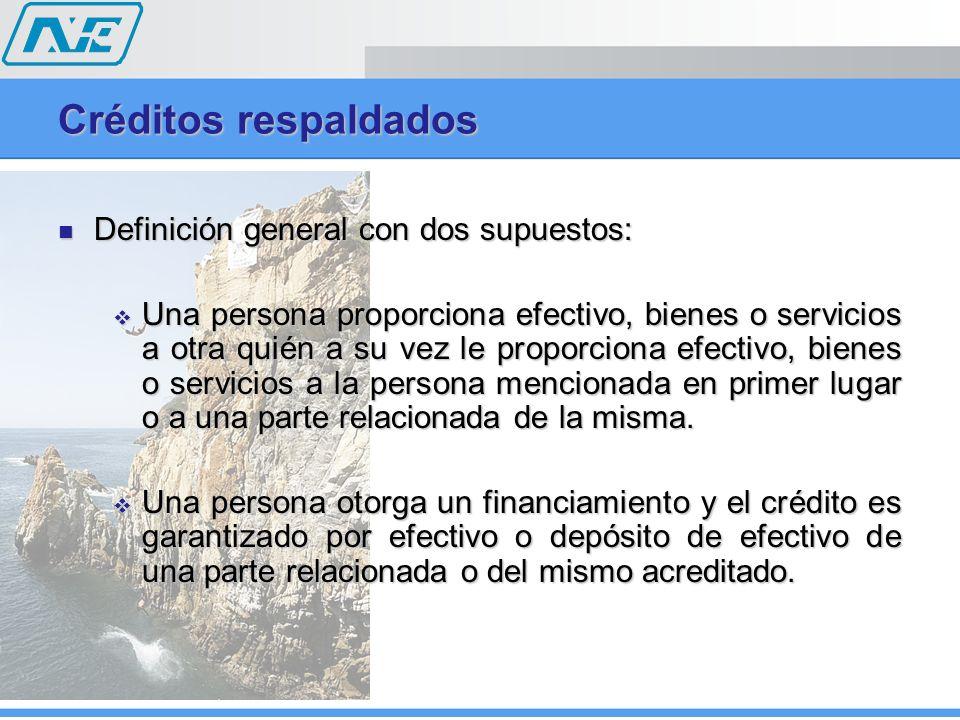 Créditos respaldados Definición general con dos supuestos: Definición general con dos supuestos: Una persona proporciona efectivo, bienes o servicios