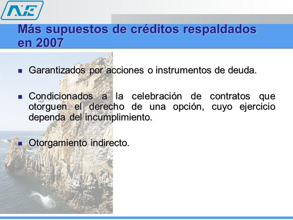 Más supuestos de créditos respaldados en 2007 Garantizados por acciones o instrumentos de deuda. Garantizados por acciones o instrumentos de deuda. Co