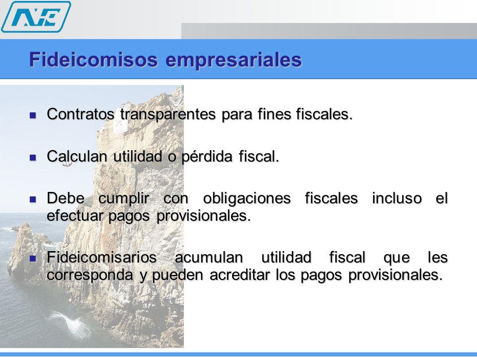 Fideicomisos empresariales Contratos transparentes para fines fiscales. Contratos transparentes para fines fiscales. Calculan utilidad o pérdida fisca