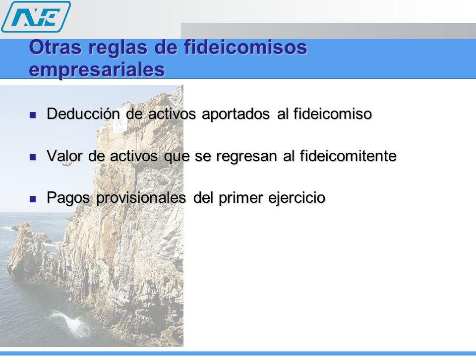 Otras reglas de fideicomisos empresariales Deducción de activos aportados al fideicomiso Deducción de activos aportados al fideicomiso Valor de activo