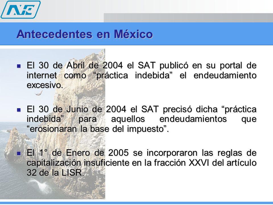 Antecedentes en México El 30 de Abril de 2004 el SAT publicó en su portal de internet como práctica indebida el endeudamiento excesivo. El 30 de Abril