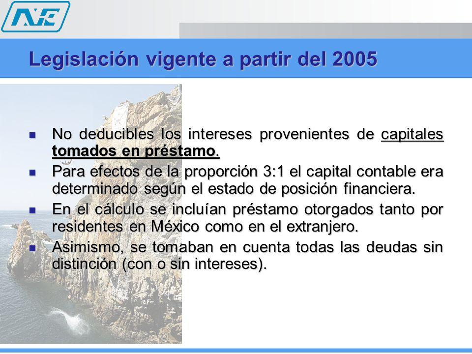 Legislación vigente a partir del 2005 No deducibles los intereses provenientes de capitales tomados en préstamo. No deducibles los intereses provenien
