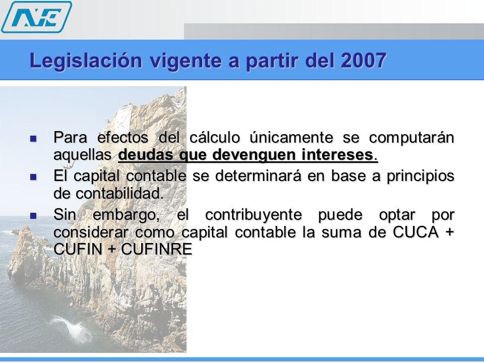 Legislación vigente a partir del 2007 No serán deducibles los intereses derivados de deudas contraídas con partes relacionadas en el extranjero, por la porción excedente del triple del capital contable.