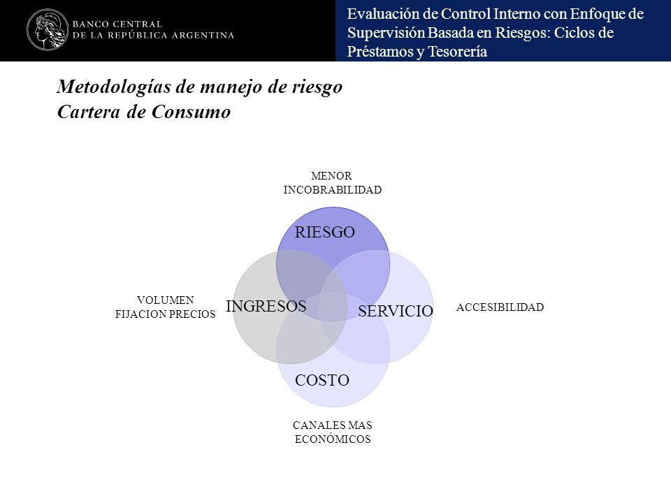 Evaluación de Control Interno con Enfoque de Supervisión Basada en Riesgos: Ciclos de Préstamos y Tesorería Metodologías de manejo de riesgo Cartera d