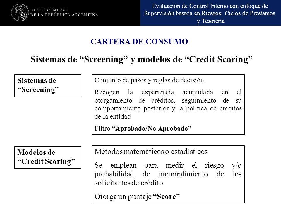 Evaluación de Control Interno con Enfoque de Supervisión Basada en Riesgos: Ciclos de Préstamos y Tesorería CARTERA DE CONSUMO Evaluación de Control I