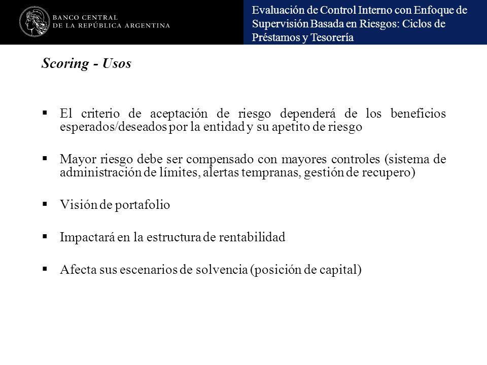 Evaluación de Control Interno con Enfoque de Supervisión Basada en Riesgos: Ciclos de Préstamos y Tesorería Scoring - Usos El criterio de aceptación d