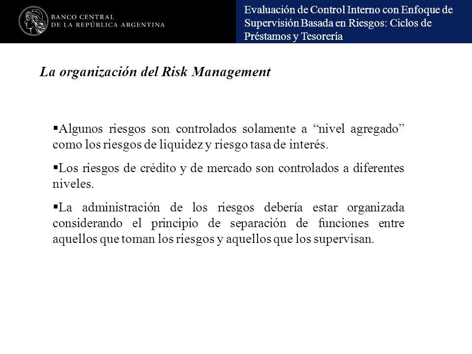 Evaluación de Control Interno con Enfoque de Supervisión Basada en Riesgos: Ciclos de Préstamos y Tesorería La organización del Risk Management Alguno