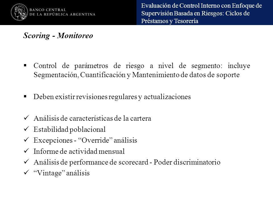 Evaluación de Control Interno con Enfoque de Supervisión Basada en Riesgos: Ciclos de Préstamos y Tesorería Scoring - Monitoreo Control de parámetros