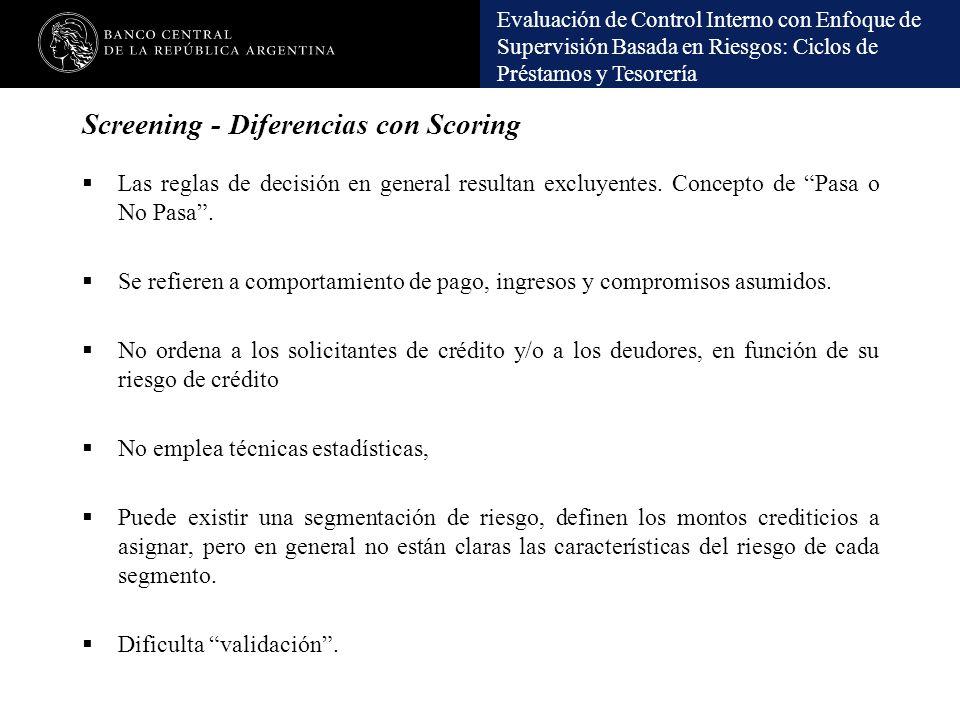 Evaluación de Control Interno con Enfoque de Supervisión Basada en Riesgos: Ciclos de Préstamos y Tesorería Screening - Diferencias con Scoring Las re