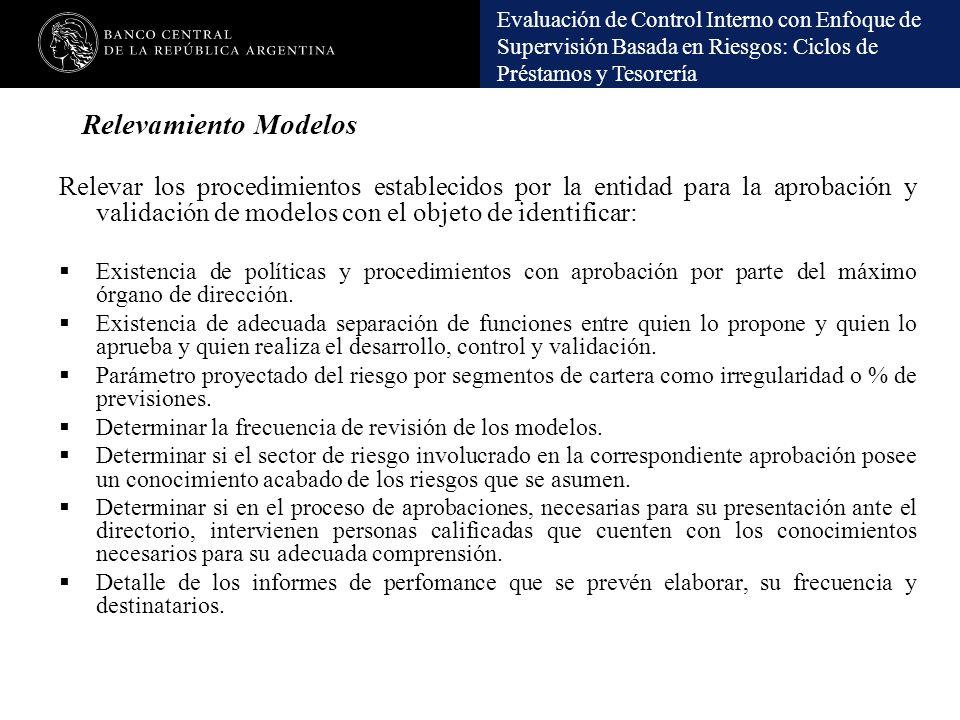 Evaluación de Control Interno con Enfoque de Supervisión Basada en Riesgos: Ciclos de Préstamos y Tesorería Relevamiento Modelos Relevar los procedimi